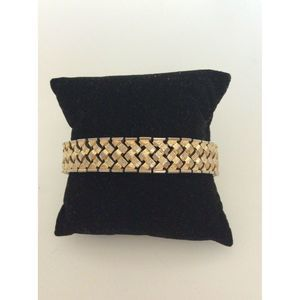 Napier Gold Tone Textured Metal Clasp Bracelet